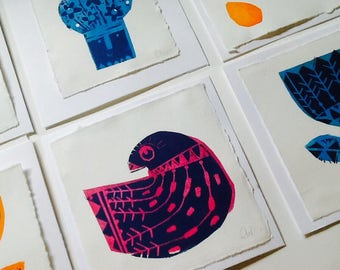 Hand made, hand pulled Linocut blank card