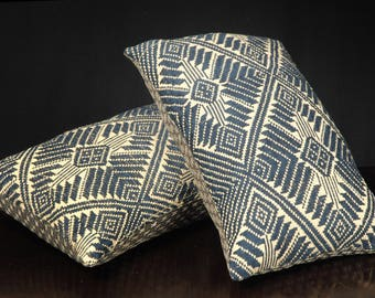 Laos decorative lumbar throw pillow, tribal ethnic fabric rectangle pillow handwoven cotton blue black sepia home decor cushion 14 x 25 TT27
