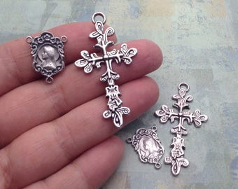 Rosary Medals Set in Antique Silver, Cross and Our Lady Sacred Heart of Jesus Centerpiece, miraculous medal, rosary parts, catholic charms