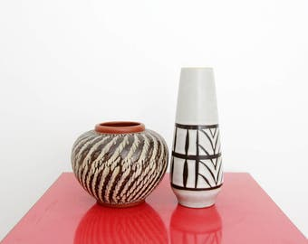 Vintage Vase // Set of Two German Pottery Vases // Wekara Round Vase // West Germany Marzi&Remy Slim Vase