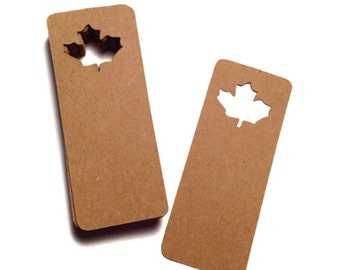Fall Maple Leaf Tags - Autumn Favor Labels - Thanksgiving Tags - Name Tags - Fall Wedding - Price Tags - Fall Favors - Kraft Paper