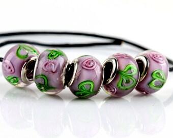 Purple Floral Murano Glass European Beads - 10 beads
