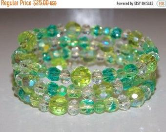 20%OFF Green Aqua Czech Glass Bracelet