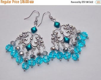 15%OFF Light Aqua Chandelier earrings