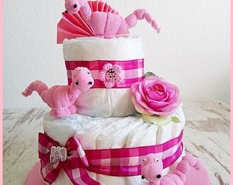 Diaper cake pink Dino baby washcloth gift ur baptism birth baby party original