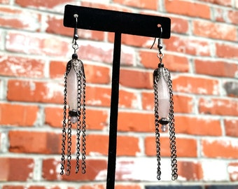 Mood Lighting- Rose Quartz Gunmetal Chain Tassel Lantern Earrings