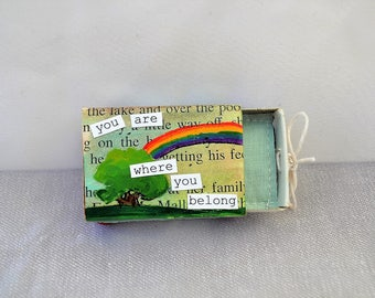 you are where you belong upcycled matchbox