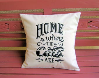 Pillow Cover- Home is Where The Cats Are Pillow Cover-Natural Color Pillow Cover