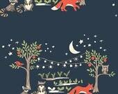 Night Garden Poplin - Monaluna Fabrics - woodland animals, woodland fabric, organic fabric by the yard, modern fabric, fox fabric