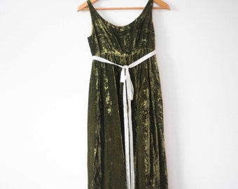 Green Velvet Dress | Vintage 1950's || Holiday Party Dress