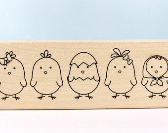 Stamp Easter 5 chicks