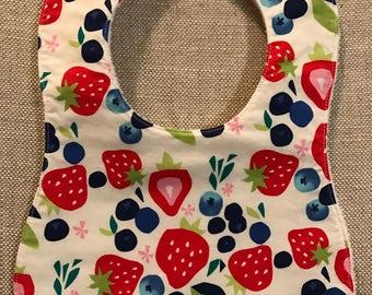 Baby Bib in Strawberries and Blueberries