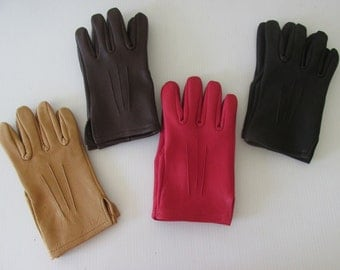 Deerskin Leather Driving Gloves with Silking Design - 4 Colors to choose from - Made in the USA
