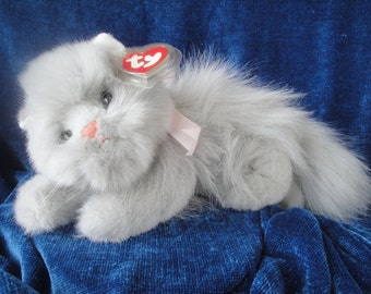 Puffy The Kitten Ty Plush/Gray Ty Plush Cat/Grey Kitten Stuffed Animal