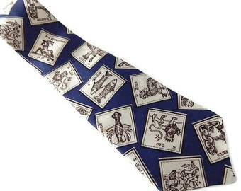 Zodiac Signs Necktie Blue and White