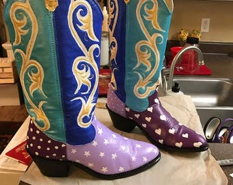 Hand painted cowboy boots