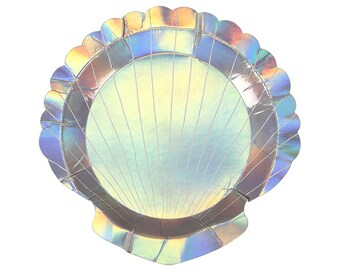 "Shell Paper Plates (Set of 8) - Meri Meri 7"" Holographic Appetizer or Dessert Plates 