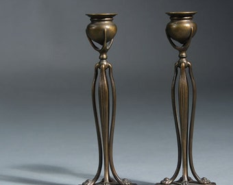 Rare Signed Pair Tiffany Studios Bronze Candlesticks, circa 1900, with Original Dark Patina in Truly Pristine Condition