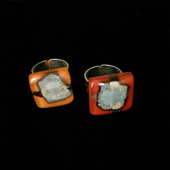 Fused Glass Ring with copper and silver inclusions