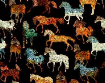 Unbridled Western Horse Cowboy Turquoise Teal Rust Horses Black  Fabric  24691 -J BTY 1 Yd