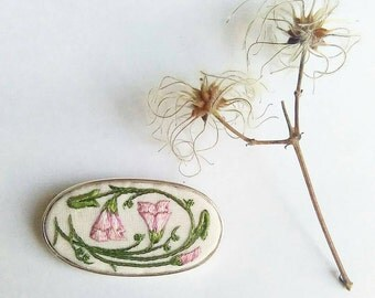 Hand embroidered field bindweed sterling silver brooch