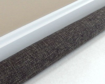 Extra Long Door Draft Stopper - 38, 40, 42, 44, 46, 48, 50, 52 inches - Door Snake - UPHOLSTERY FABRIC - Draft Blocker - Black Grey Tweed