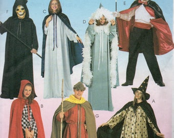 McCall's Costumes Pattern 2853 MAGICIAN REAPER ROBIN Hood & More Cape/Tunic Costumes Adult Sizes Sm-Lrg