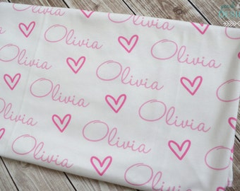 Personalized baby heart swaddle blanket: baby and toddler personalized name newborn hospital gift baby shower gift