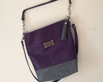 The Shopper Mini with Removable Straps Leather Bag Handbag Tote Satchel Purse Purple Grey Gray Violet