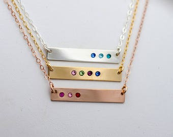 Birthstone Bar Necklace, Bar Necklace with Birthstones, Horizontal Bar with Birthstones, Mothers Birthstone Jewelry Gold Silver Rose