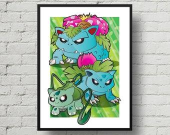 Pokemon, Bulbasaur, Ivysaur, Venusaur, Digital Illustration, Print, Art Poster, Comic, Home Wall Art Decor, Birthday Gift, For Kids
