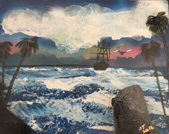 Spray Paint Art Cloudy Seascape