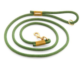 Fern Hill dog leash, olive green and brown climbing rope dog leash with brass hardware