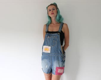 Crochet Patch Dungarees size 12