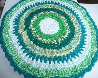 "Rag Rug Round  Handmade Cotton Crochet Rug Green White Yellow  31"" Ready To Ship"