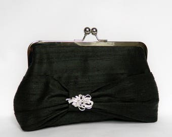 Black Silk Clutch, Black Bow Clutch with Diamante, Clutch Purse, Silk Clutch, Wedding Clutch, Evening Clutch, Black Clutch