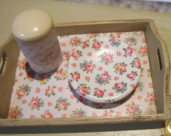 Shabby Miniature Wooden Tray for Dollhouse 1:12 scale