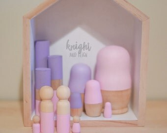 Minimalist Pastel Set Light Pink and Purple Wooden Totems 3 Piece Nesting Dolls 9 Piece Pegs 4 Piece