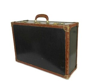 Vintage Leather and Hard Shell Suitcase with Combination Lock.
