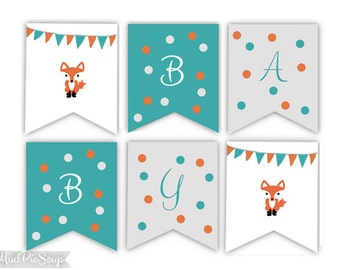 printable fox baby shower banner woodland animals baby bunting banner with fox teal gray