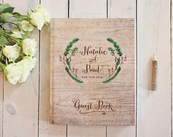 Winter Wedding Guest Book - Festive Wreath Wedding Guestbook - Custom Red & Green Guest Book - Rustic Keepsake - 8 x 10