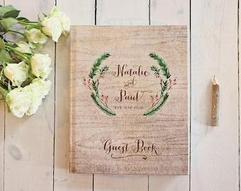 Winter Wedding Guest Book - Festive Wreath Wedding Guestbook - Custom Red & Green Guest Book - Rustic Keepsake - 8 x 10