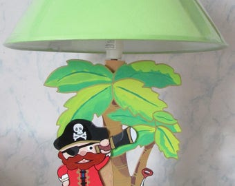 Child lamp wooden pirate on the island