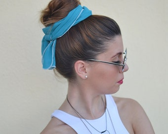 Turquoise Head Scarf, Turquoise Hair Wrap, Womens Headband, Head scarf, Hair Tie, Headcovering, Head Covering, Retro Head Bow, Vintage Bow