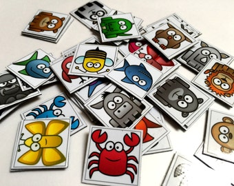 Mini Magnets  Set of 59 Animals for your Fridge. Play Kids Games like Match and Bingo.