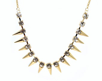 Gold Plated, Spike, Rhinestone Necklace