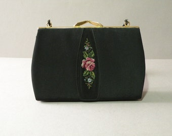 Needlepoint Rose Purse