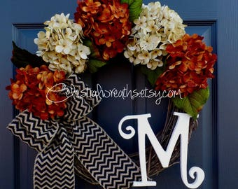 Wreaths-fall wreath - hydrangea wreath - monogram wreath - grapevine wreath - chevron burlap wreath - rustic wreath