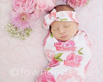 Rose, Swaddle Sack, Swaddle, Cocoon, Sleep Sack, Swaddle, Newborn, Headband, Top Knot, Cocoon swaddle, Cocoon sack, Newborn Photography