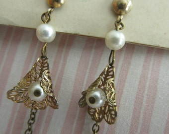 Vintage Earrings, faux pearls and gold tone, costume jewelry, dangle, drop earrings, dress-up, play, theatre, costume, as found